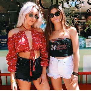 LF Floral Tie Crop Top Red Aus 8 US Small